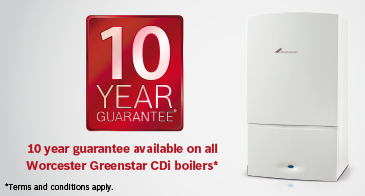 Worcester 10 year guarantee, available on all Greenstar CDi boilers.