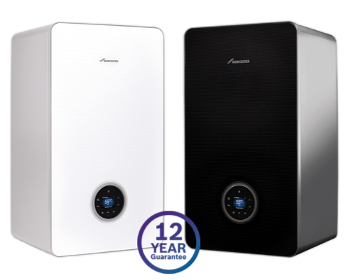 Two Worcester boilers with the Worcester 12 year guarantee mark over them, on a white background