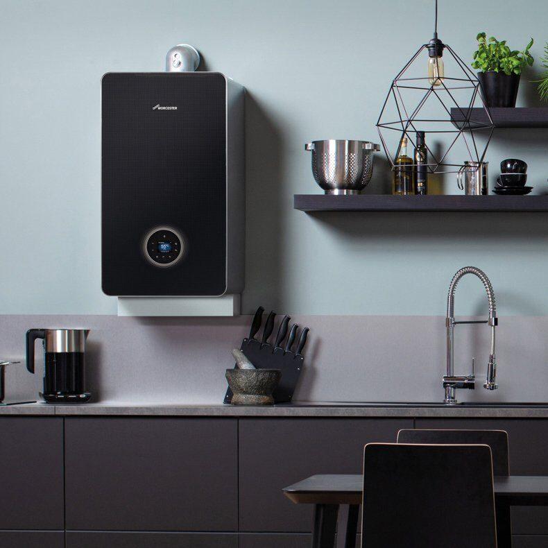 Worcester Greenstar black style boiler installed in a modern kitchen
